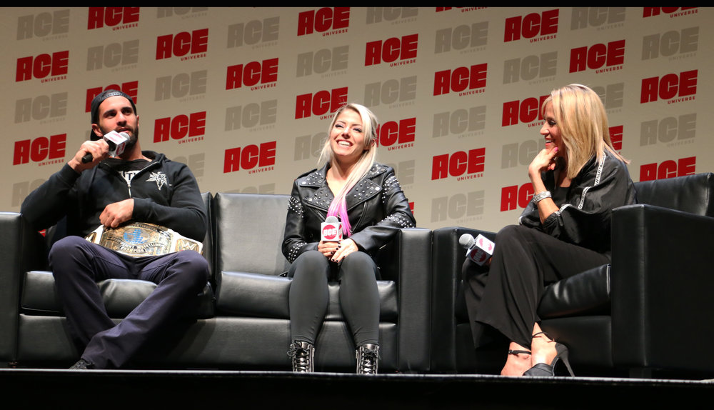 WWE Superstars Seth Rollins, left, and Alexa Bliss, center, said they were both introverts while they were growing up.