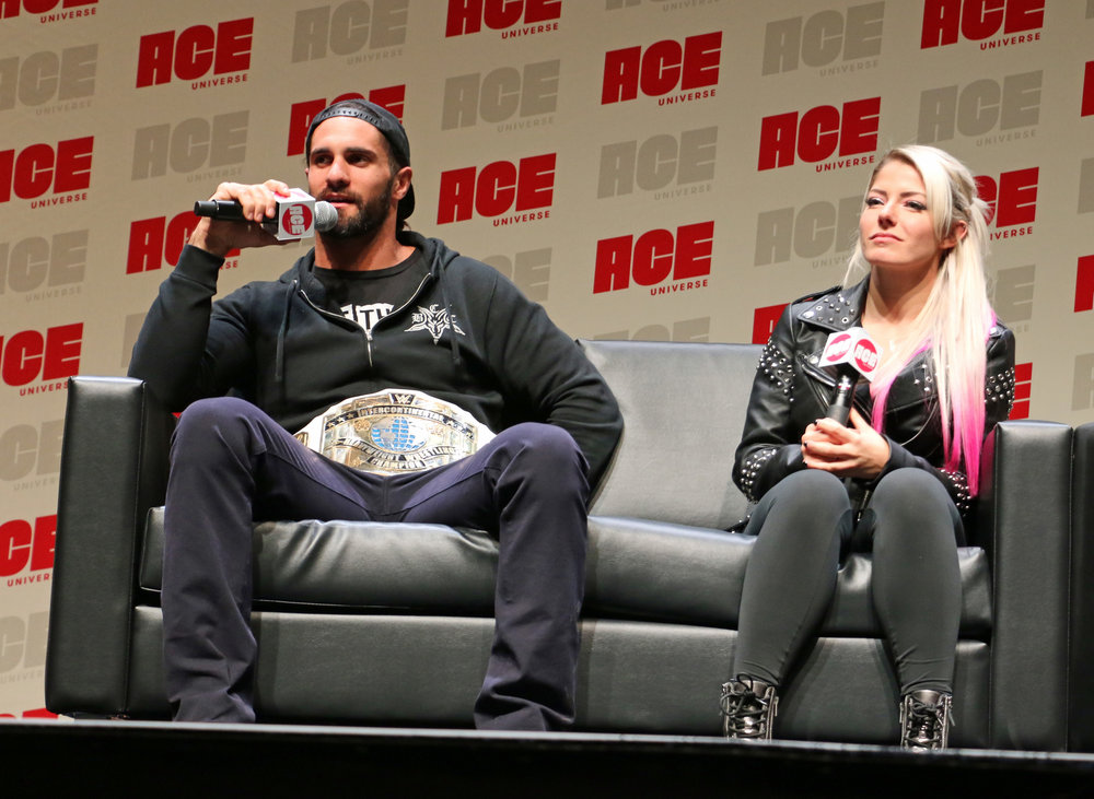 WWE Intercontinental Champion Seth Rollins, left, and Alexa Bliss during their WWE panel.