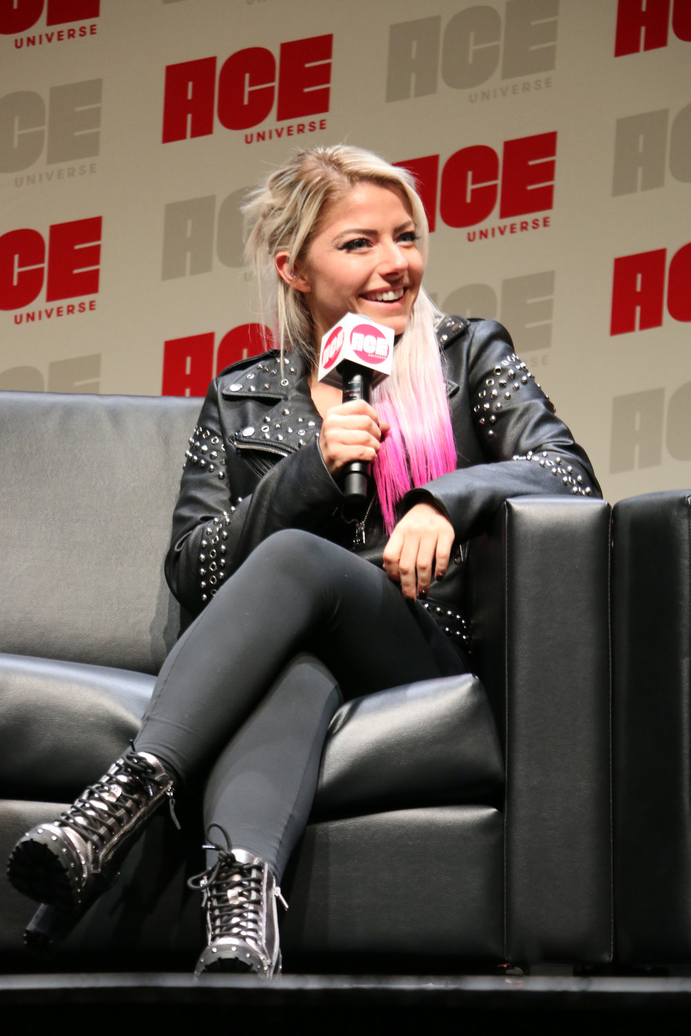 Alexa Bliss answers a question during the panel.