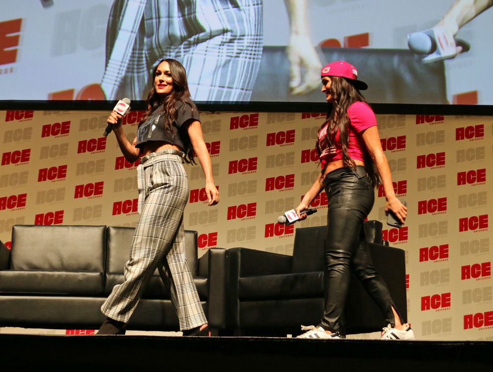 Brie Bella, left, and sister, Nikki, arrive for their WWE panel discussion.