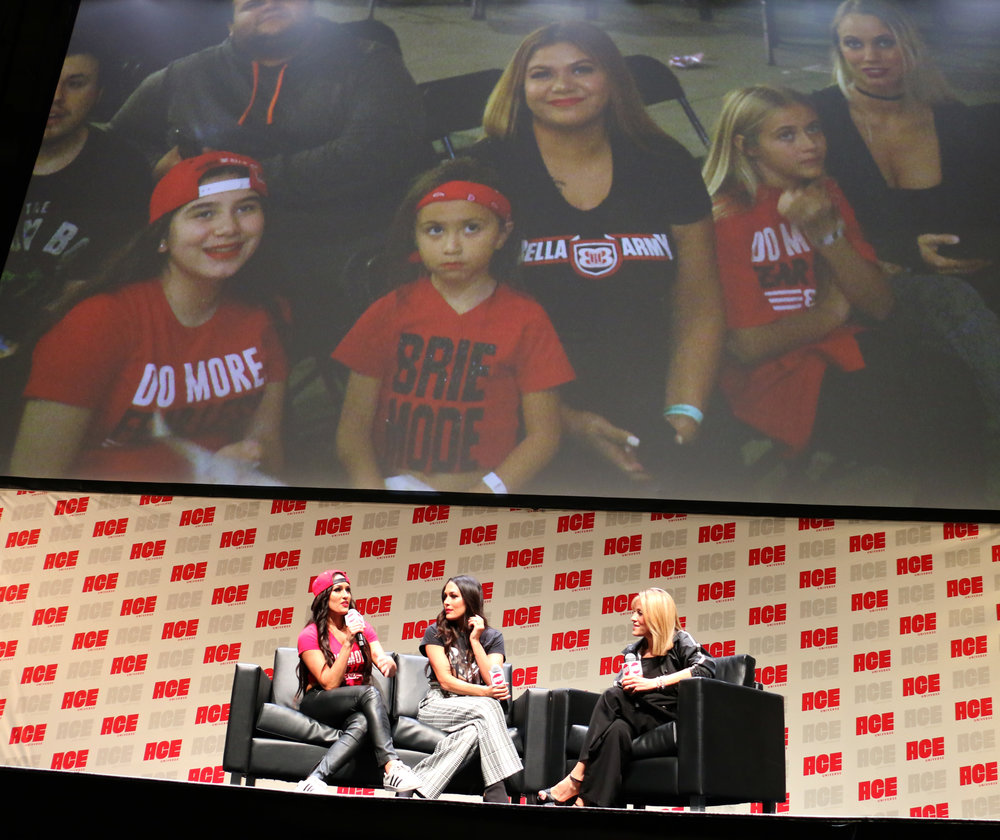 A family of Bella fans are on the big screen during the Bella Twins panel.
