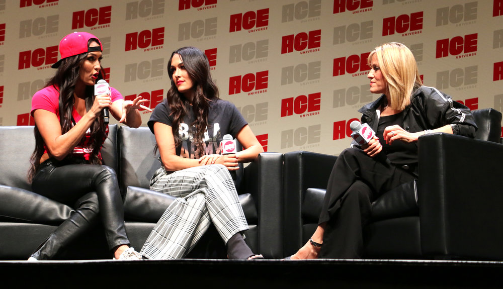 Nikki Bella, left, Brie Bella and Lilian Garcia during their WWE panel.