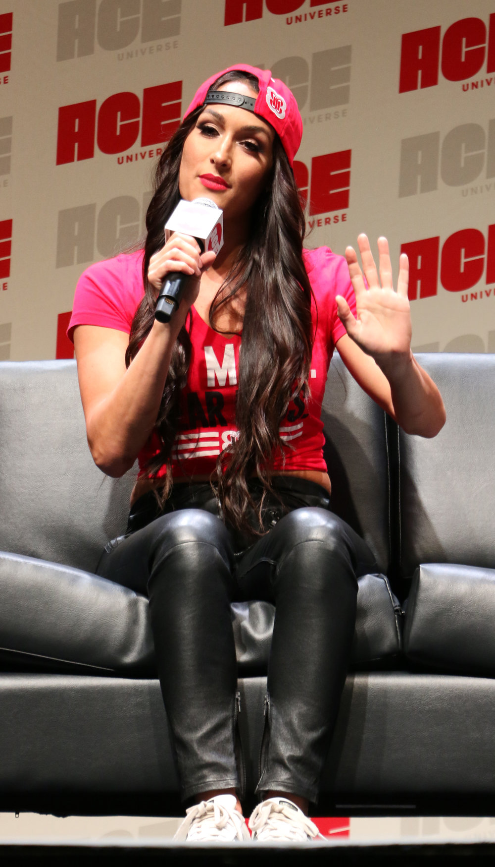 Nikki Bella addresses a question during the WWE panel.