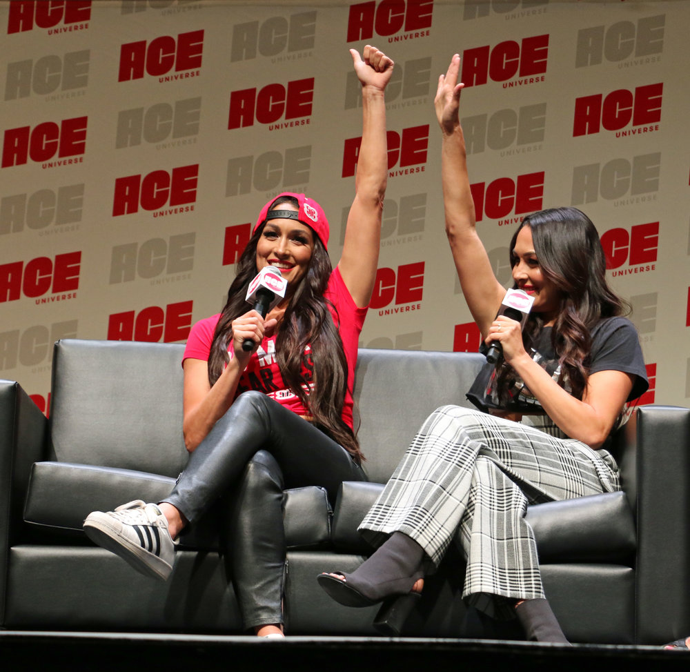 Nikki Bella, left, and Brie Bella thank their fans during the WWE panel at ACE Comic Con.