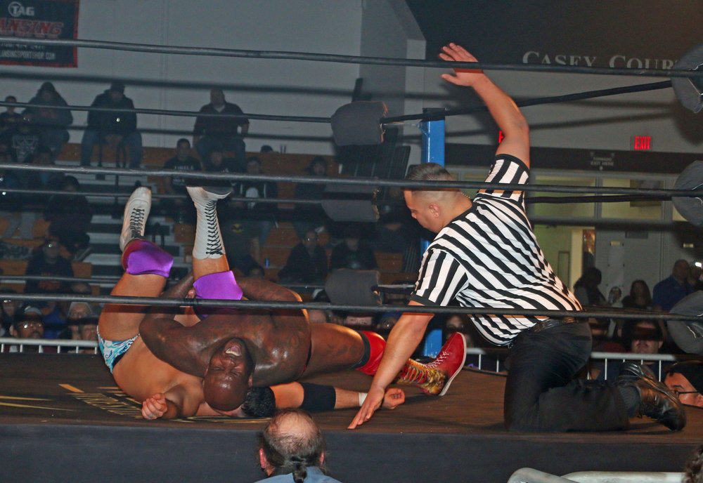 Moose secures the pin on Ethan Page moments after hitting a low-blow kick the groin.