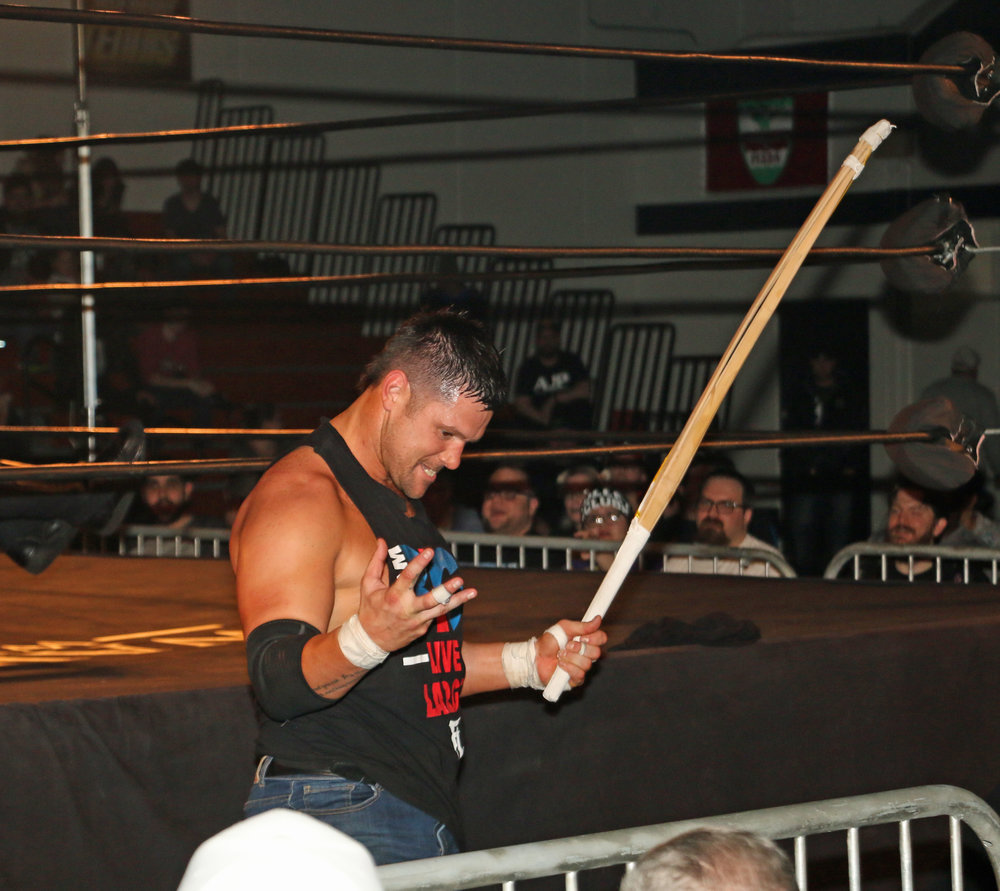 Eddie Edwards pumps himself up outside the ring.