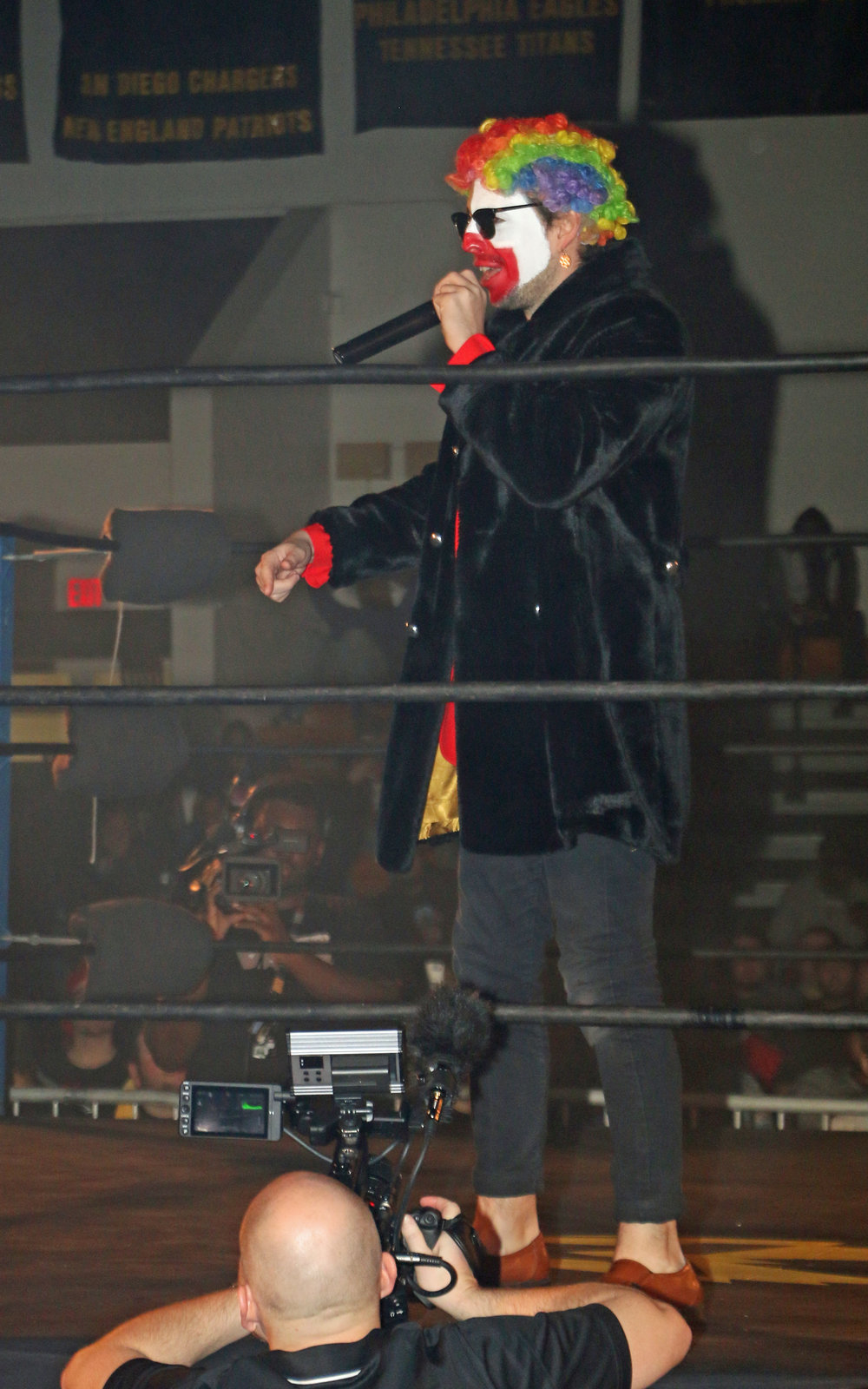 "Frank the Clown gets ready to introduce Robert ""Ego"" Anthony, the first participant for the Freelance Free-For-All match."