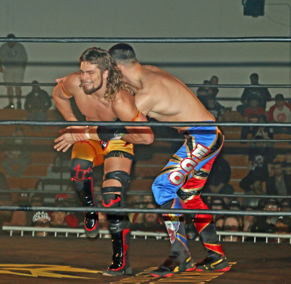"Brian Pillman Jr., left, has the armbar on Robert ""Ego"" Anthony during the Freelance Free-For-All match."