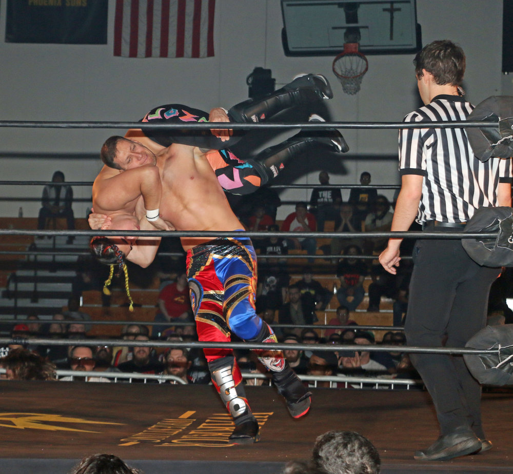 "Robert ""Ego"" Anthony hits the Death Valley Driver on Joe Alonzo Jr. during the Freelance Free-For-All match."