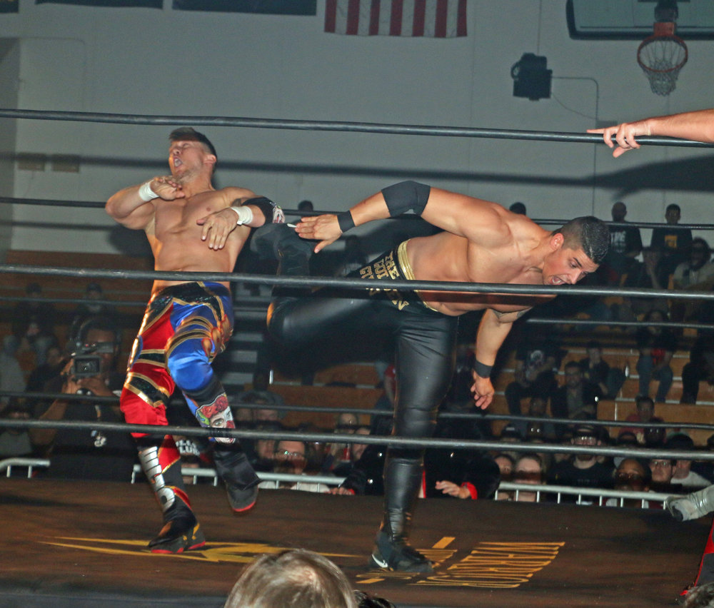 "Mark Wheeler superkicks Robert ""Ego"" Anthony during the Freelance Free-For-All match."