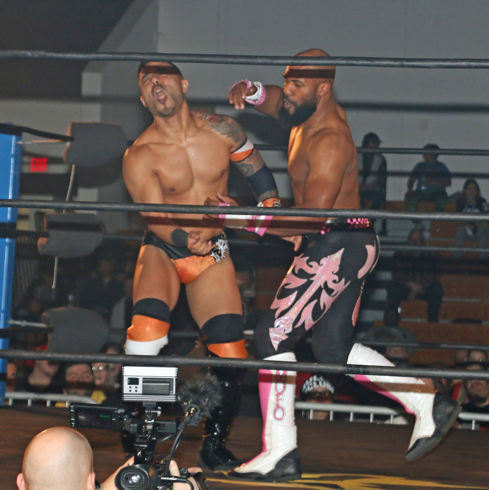 Bryce Benjamin, right, takes a shot at Isaias Velazquez during the Freelance Free-For-All match.