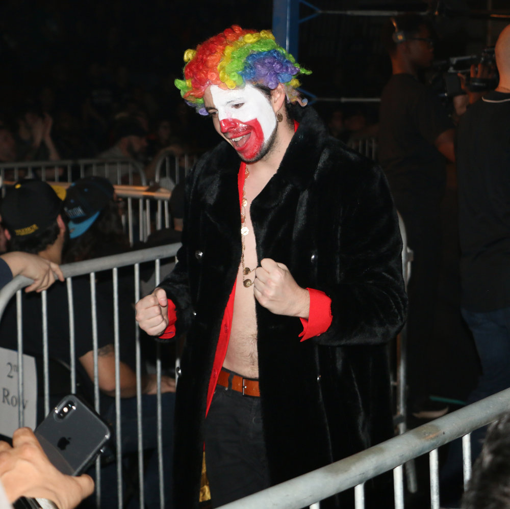 "Frank the Clown senses victory for his charge, Robert ""Ego"" Anthony."