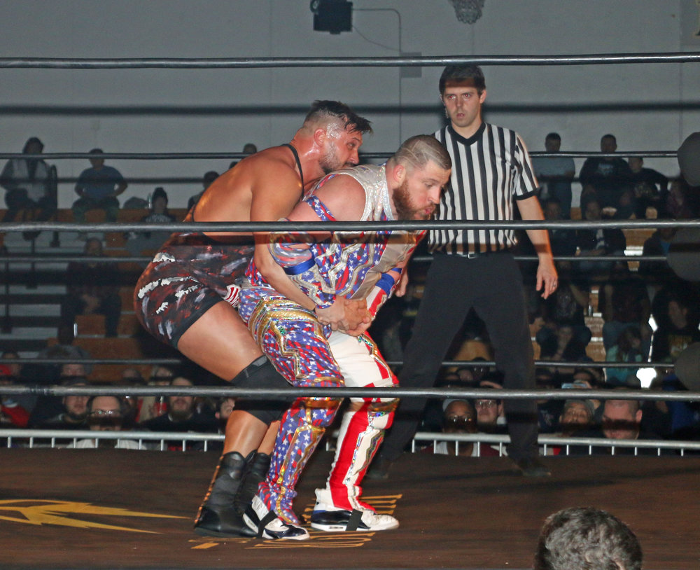 Wardlow looks to German suplex Gringo Loco during the Freelance Free-For-All match.