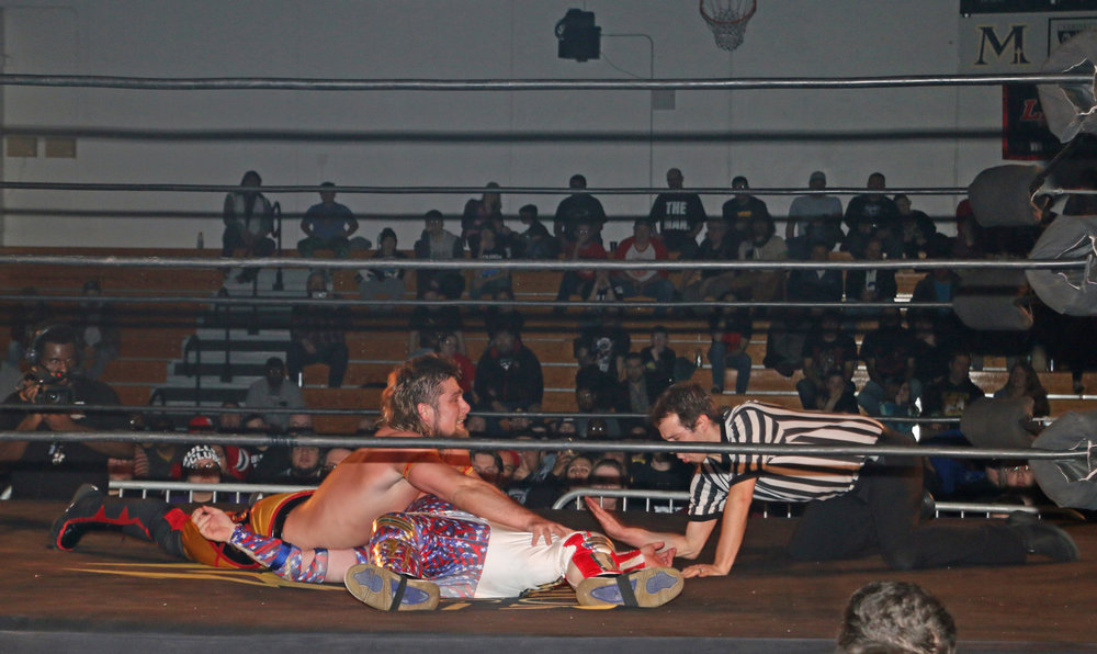 Brian Pillman Jr. pins Gringo Loco during the Freelance Free-For-All match.