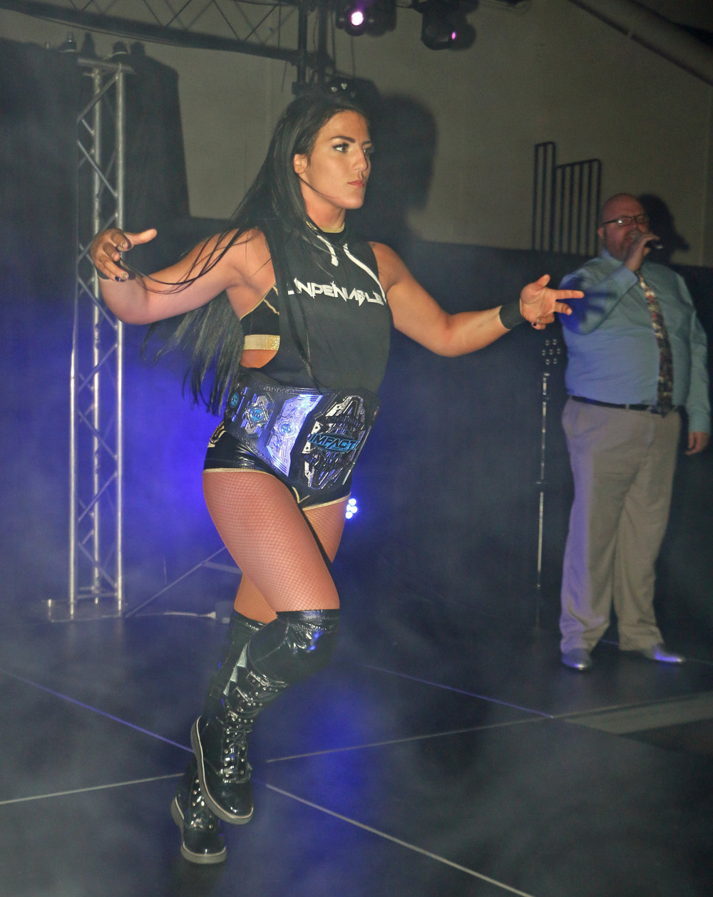 Tessa Blanchard comes down the ramp for her match against Britt Baker. Blanchard won the match and then beat down Baker afterward causing a brawl with her and Jordynne Grace.  (Photo by Mike Pankow)
