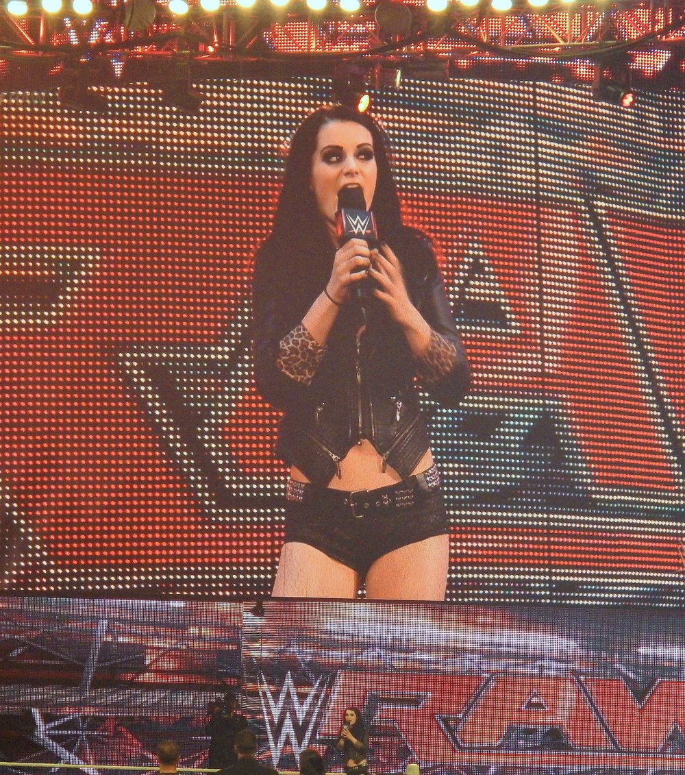 WWE Superstar Paige speaks during Monday Night Raw at Allstate Arena on Sept. 29, 2014. (Photo by Mike Pankow)