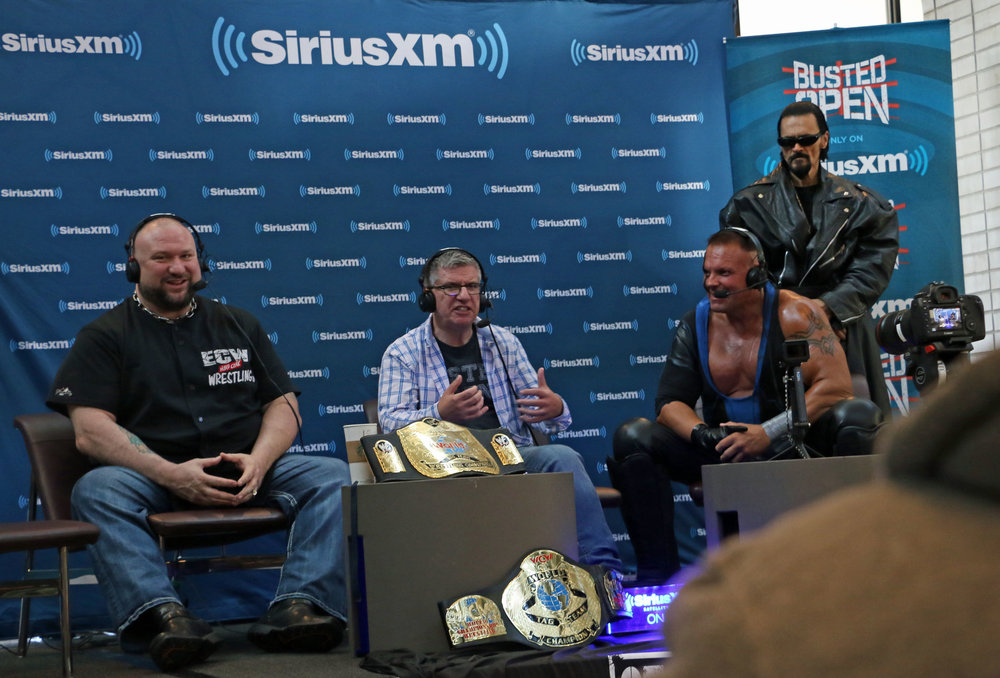 Busted Open's Bully Ray, left, and Dave LaGreca, center, interview Ring of Honor star PCO during their remote show at STARRCAST in suburban Chicago on Friday, August 31, 2018.  (Photo by Mike Pankow)