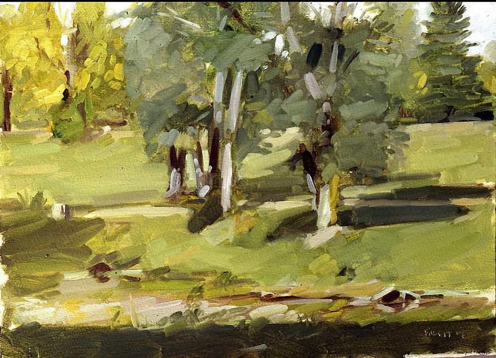 Haddonfield Park, oil on paper