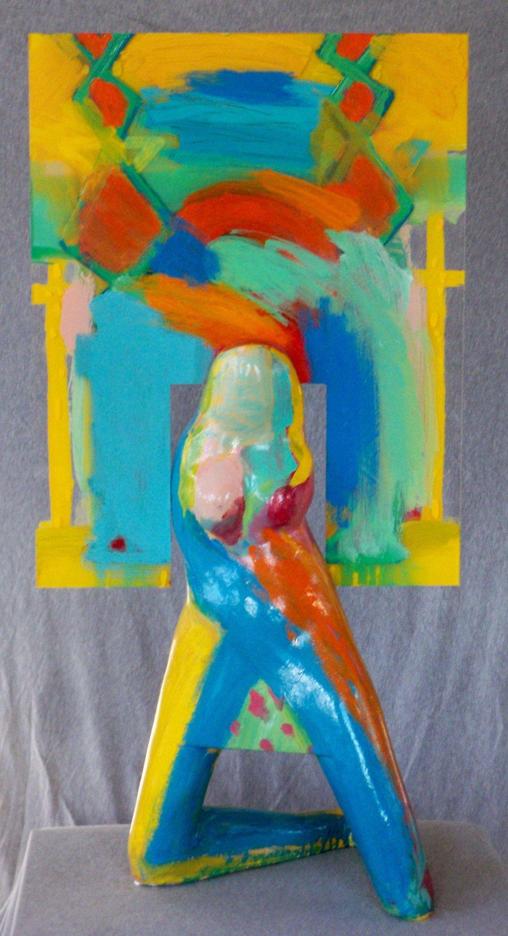 plaster, plexi-glass, enamel paint