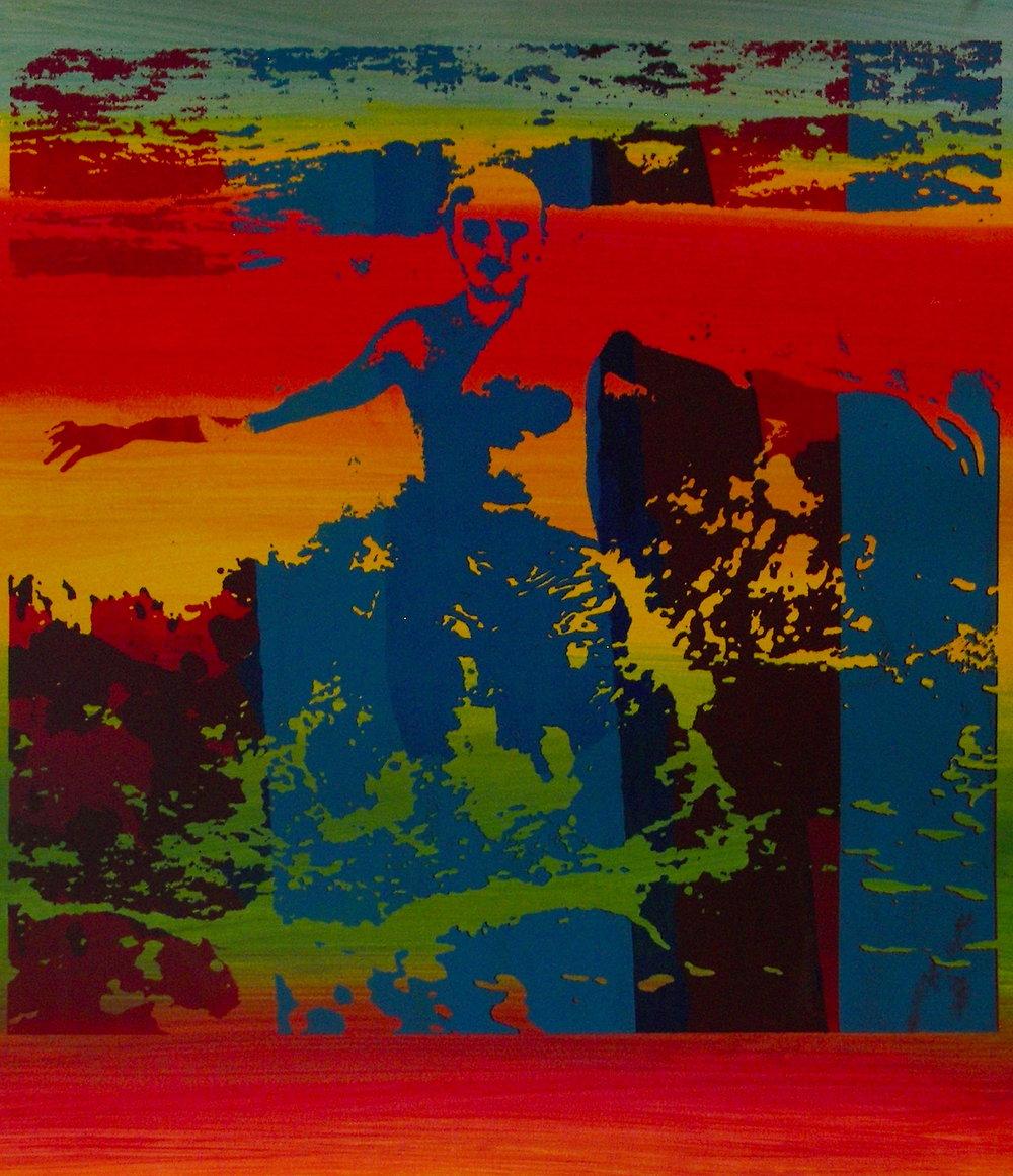 """Wave"" silkscreen on canvas"