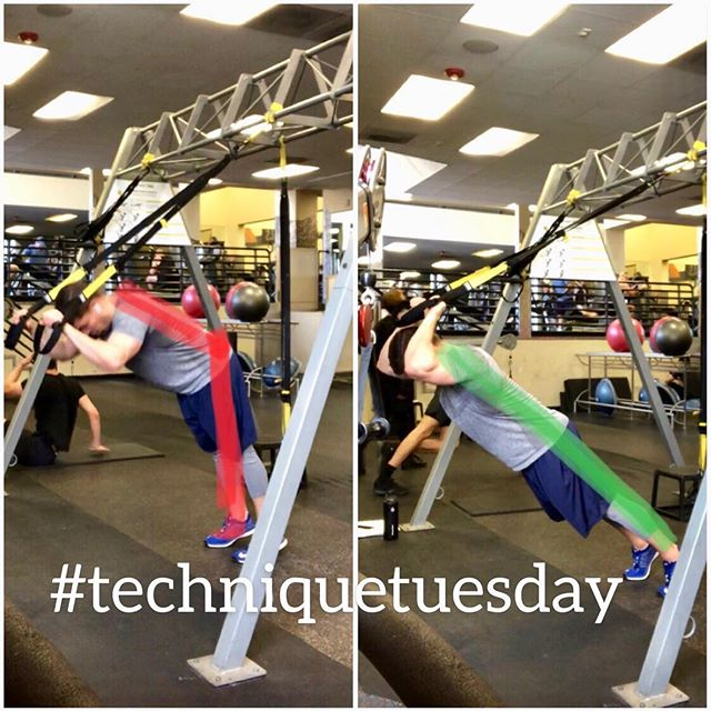 #techniquetueasday. A day behind but 🤷🏻♂️, here's another great tip when performing a trx #bodyweight #skullcrusher. . . 🔈 on for verbal queuing. . . This is one #triceps exercise I love to use because it doubles as a great #core workout. . . 🚫The two things that occur on this one that takes away from getting the most out of your triceps and core is either A. keeping the hips back or B. Not fully flexing at the elbows. This exercise as a whole can be very challenging for those not aware of their bodies in space or confident in their #movement. . . ✅ So whether you're new or advanced, select the proper angle for your body from the floor up. The more vertical the easier, the more parallel you are to the floor the harder. Experiment to find the right level of challenge. Keep your hips in line between your shoulders and ankles and create plenty of bending and straightening through each elbow. . . #informedmovement #naturalskullcrusher #tricepsworkout #coreworkout #coreexercise #strengthening #movemindfully #mindbody #mindmuscle #exercisetip