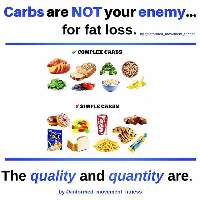 "#foodforthoughtthursday . . This post is how carbs relate to fat loss. If you're on a Keto, very low carb, paleo, or some type of cleanse or detox and you're seeing fat loss results... GREAT! Keep up the good work 👏🏻👏🏻. I'm not saying these or any super low carbs diets won't allow you to see fat loss results, I'm saying there's absolutely no need, backed by science, to have 0 or very little carbs in your diet to successfully lose fat. . Two main points I'm trying to make, is 1. how the quality and quantity of carbs are what's holding you back from seeing results and 2. (Despite the picture) it's really not about, ""good"" or ""bad"" carbs either. You can still enjoy snacks and treats if kept at a minimal intake each week and within your Daily Food Budget 👇🏻 (see below). . . Losing fat is a numbers game. Period. You first have to be in a REASONABLE deficit of calories in vs. calories out. . . From there you need to make sure the formula which includes but not limited to your personal parameters such as: • Your age • Your height • Your rate of daily activity (ranging from low to high) . . Are calculated correctly to give you your customized numbers used to produce what I call your Daily Food Budget. This will provide you with your daily balance of macronutrients (proteins, carbs, healthy fats), in order to see and sustain substantial fat loss for the short and long term. . . To find our more how I can help you succeed with your fat loss goal or my online coaching programs where you can still enjoy carbs like my successful clients you see in the before and afters, you can leave a comment or DM me and let's chat. . #informedmovement #informedprogramming #customprogramming #onlinecoaching #fatlossresults #numbersgame #fitnesslifestyle"