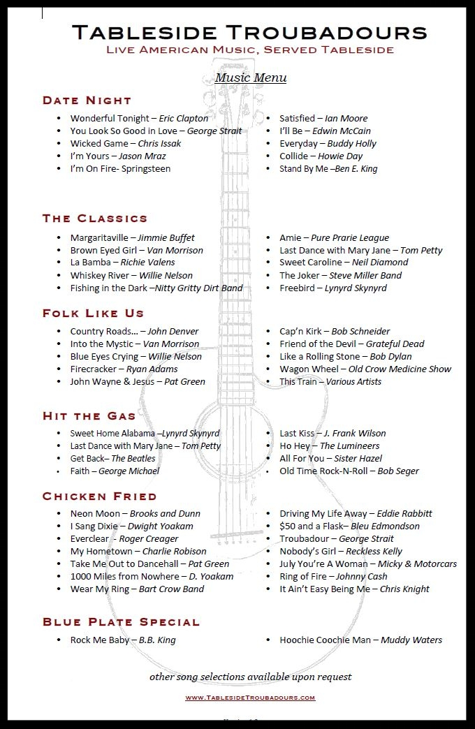 Back of Tableside Troubadours music menu