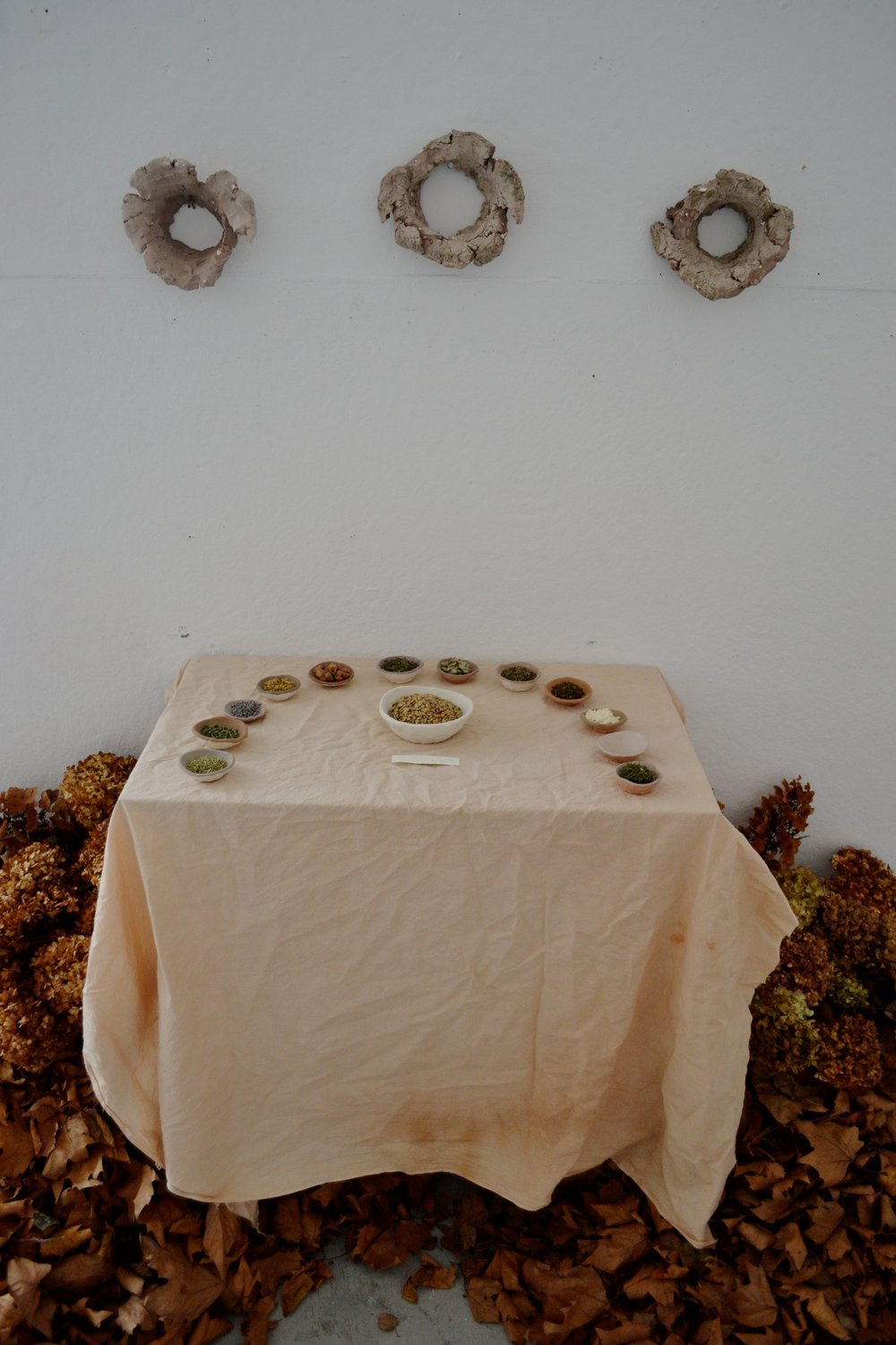 Take, Eat; This Is My Body Which Is Broken For You   Multimedia Installation  Herbs at the altar (clockwise): Rosemary, Oregano, Lavender, Elder, Myrrh, Lemon balm, Mullein, Basil, Mint, Frankincense, Sage, Yarrow.  Bowl of sunflower seeds  Unfired clay  2015