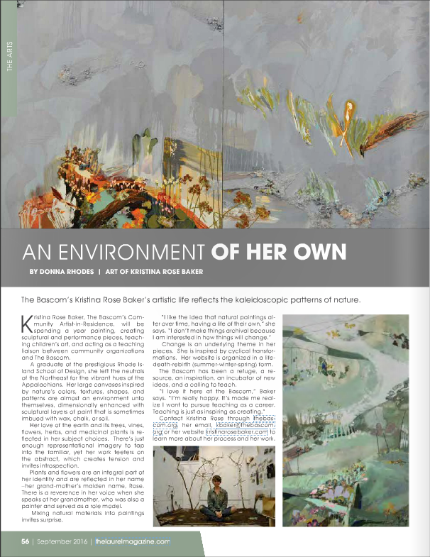 An article written about my work while Community Artist in Residence at The Bascom in Highlands, North Carolina.  Published in the Laurel Magazine.