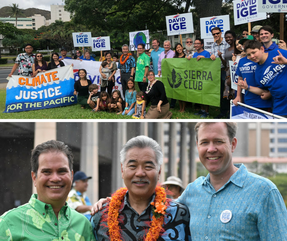 The volunteer leaders announced the sierra Club's endorsement of David Ige on Sunday June 24, 2018 on the Capitol lawn, surrounded by family and friends.