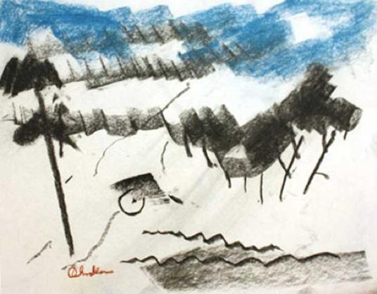 Paul Chidlaw Mixed Media Drawing #14  Mixed Media, 11x14 in.
