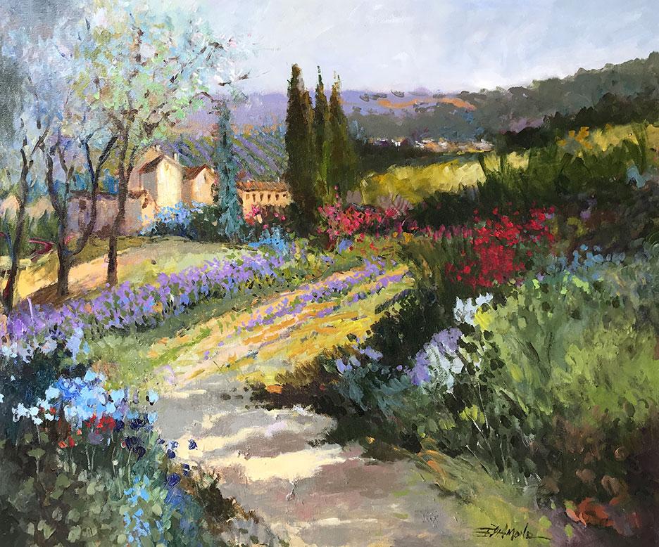 ELLEN DIAMOND, Lavender Fields in Provence  Oil on Canvas, 34 in. x 40 in.