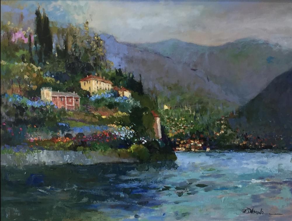 ELLEN DIAMOND, Villas on Lake Como  Oil and Canvas, 30 in. x 40 in.