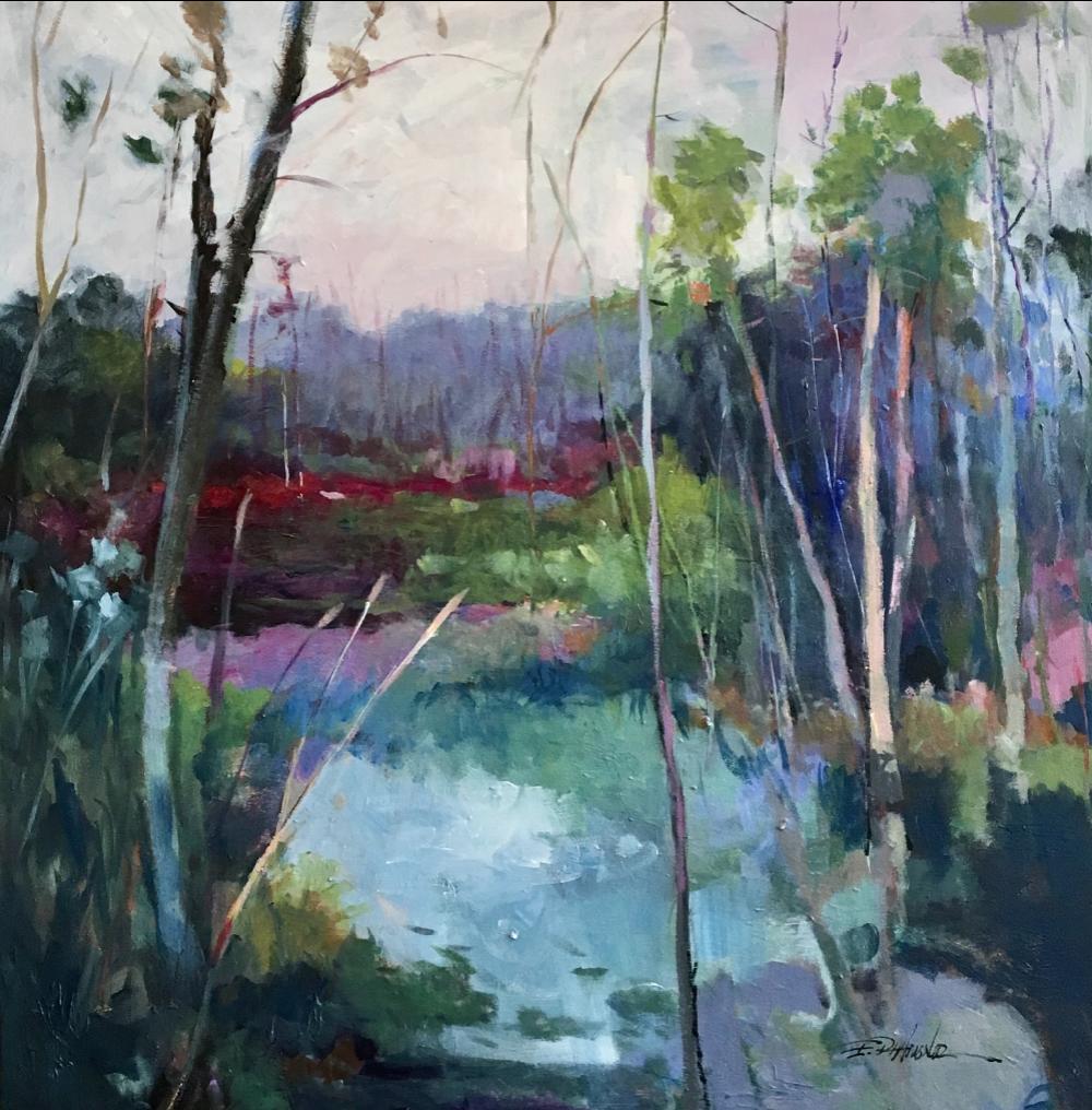 ELLEN DIAMOND, Silent Creek  Oil on Canvas, 40 in. x 40 in.