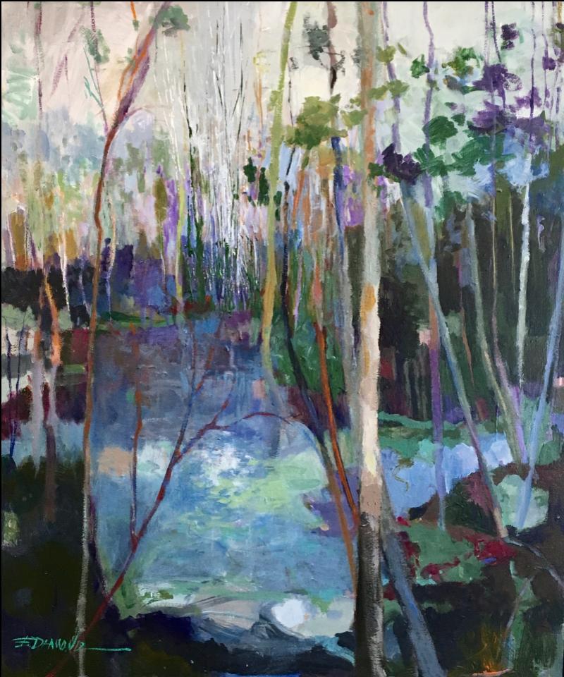 ELLEN DIAMOND, Distant White Trees  Oil on Canvas, 40 in. x 34 in.