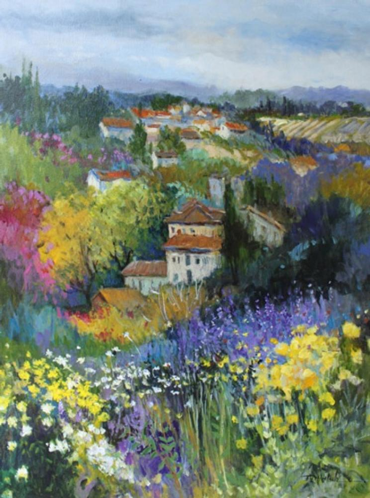 ELLEN DIAMOND, Villas on the Hillside  Acrylic on Canvas, 40 in. x 34 in.