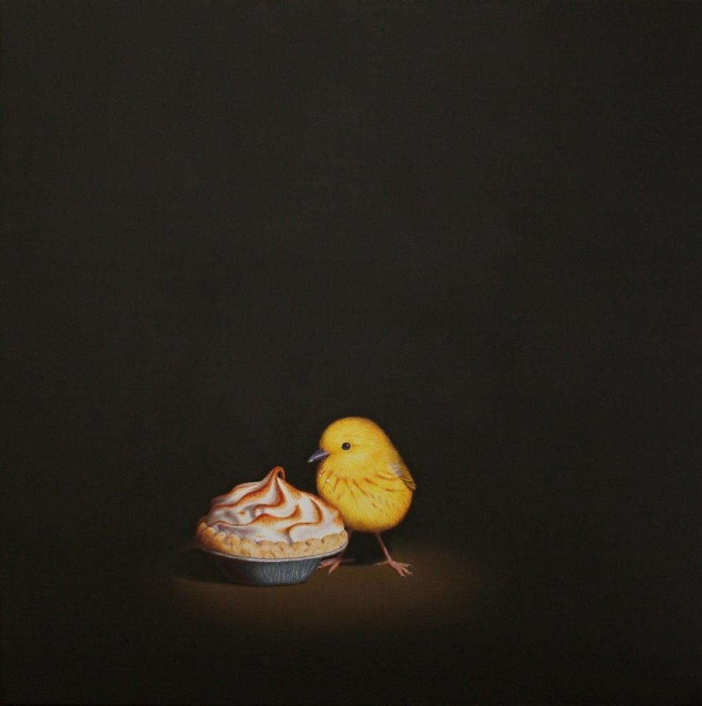ISABELLE DU TOIT, Key Lime Pie and Yellow Warbler  Oil on Canvas, 12 in. x 12 in.