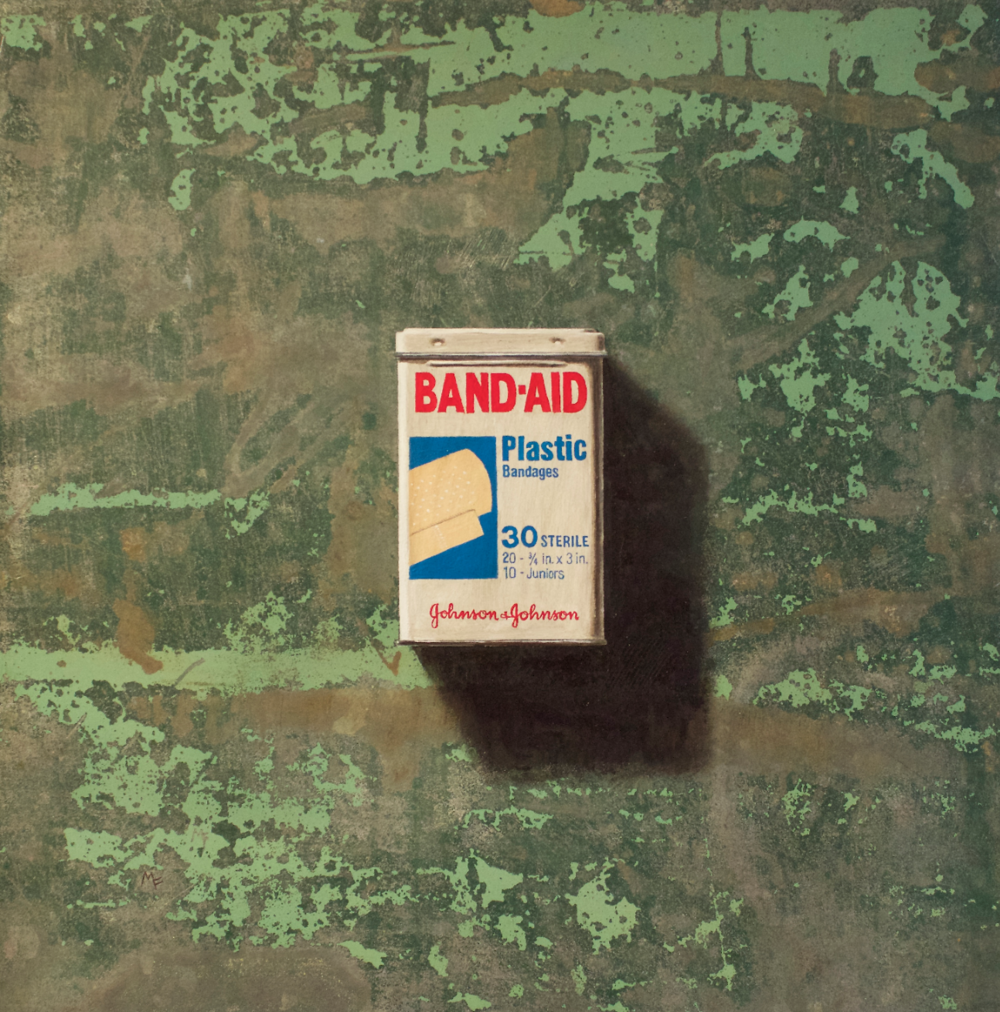 Michael Fitts, Band Aid  Oil on Copper, 12in. x 12 in.