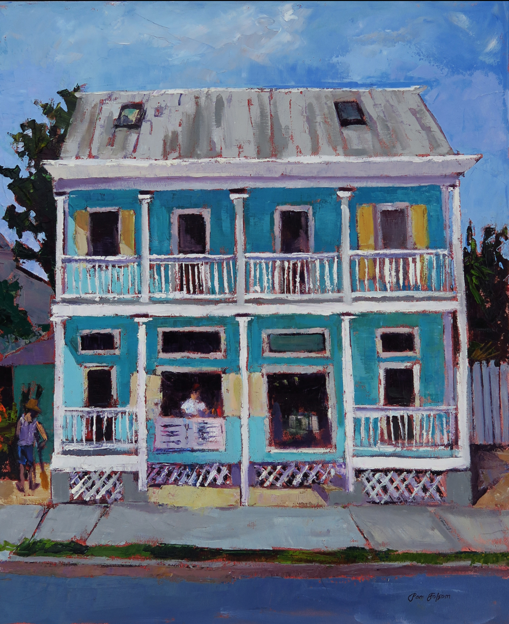 Pam Folsom, Island Pizza  Oil on Canvas, 24x20 in.