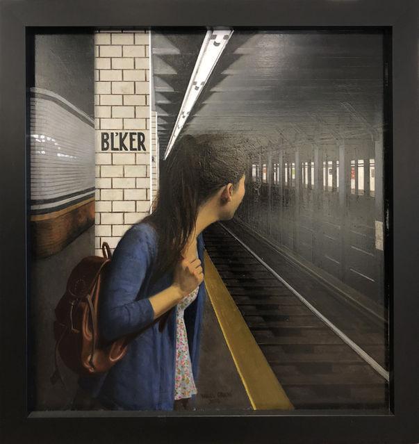 Daniel E. Greene, Sophie - Waiting for the Train  Oil on Wood 34x32 in.