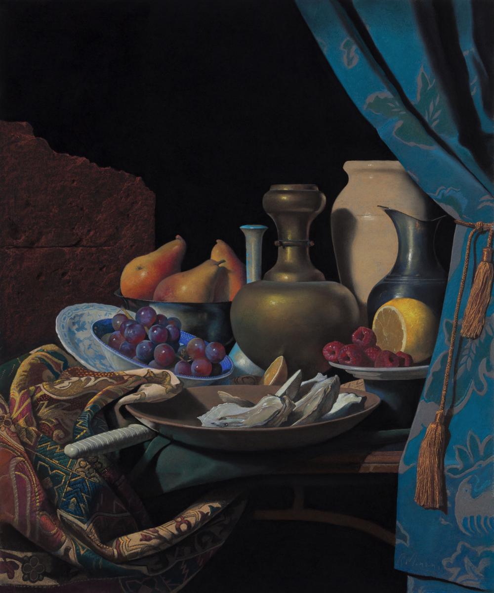 Ron Monsma, Arrangement of Shells, Fruits, & Vases  Pastel , 24x20 in.