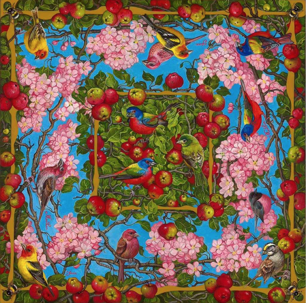 Yana Movchan, Apple Blossoms with Birds & Bees  Oil, 30x30 in.