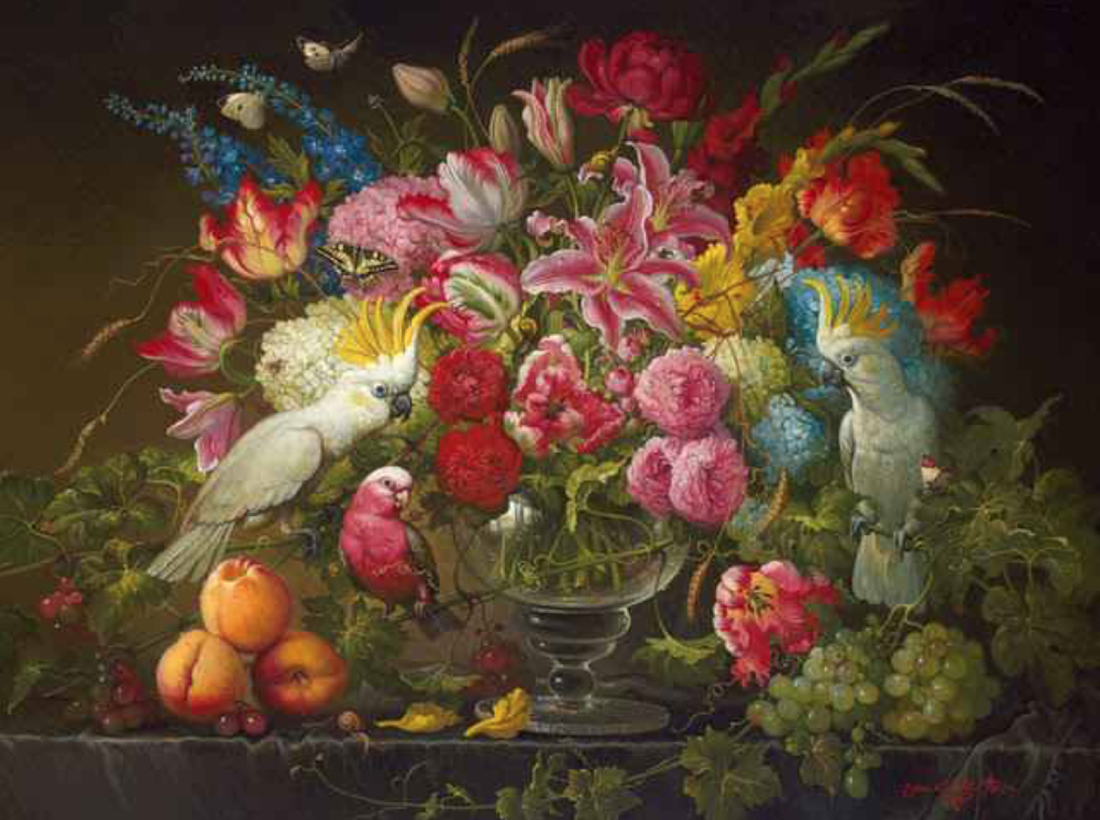 Yana Movchan, Vibrant Floral  Oil on Canvas, 36x48 in.
