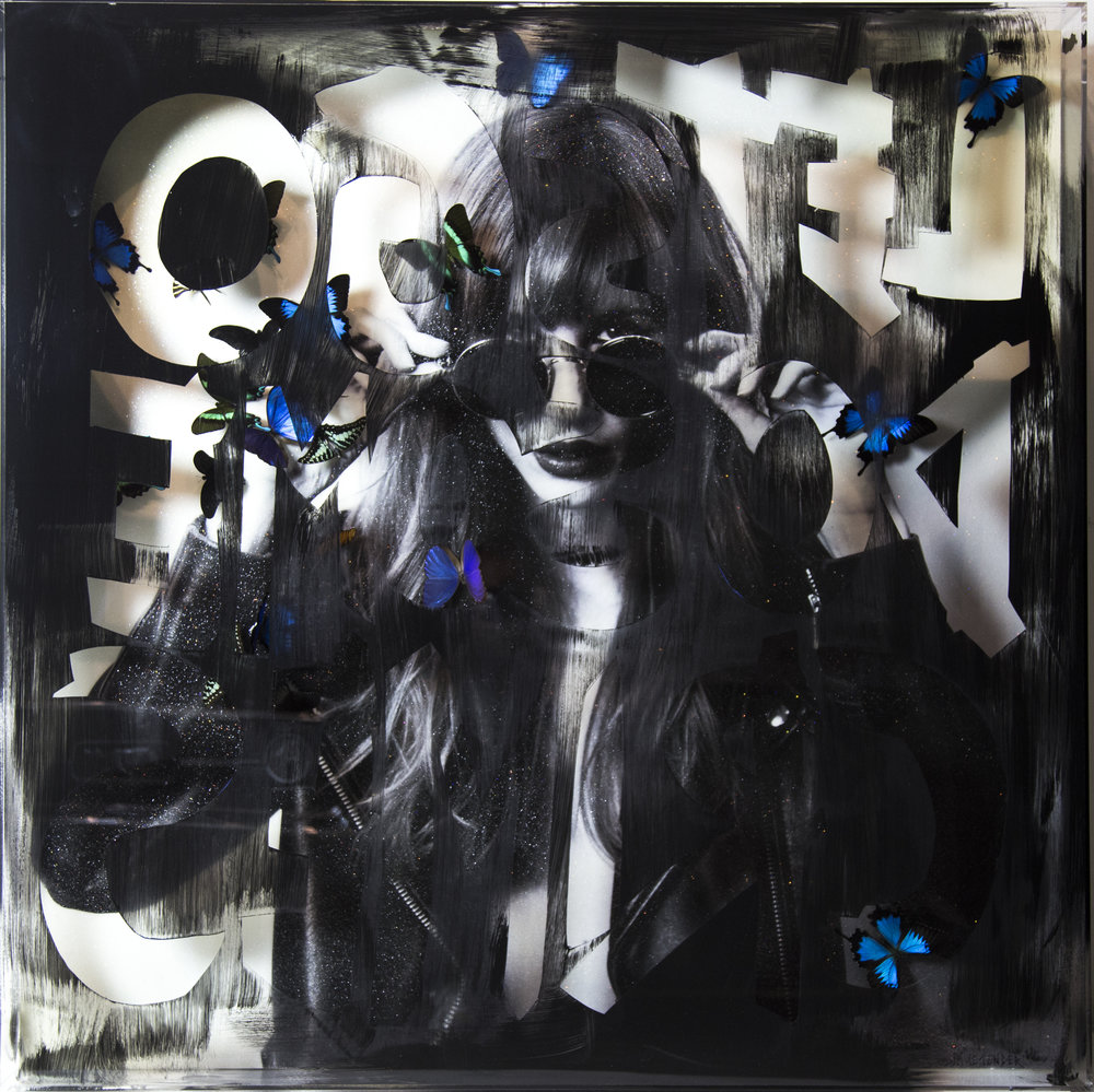 Punk Me Tender, Let's Go do some Crimes  Photograph on plywood covers with epoxy resin, 48x48x6 in.