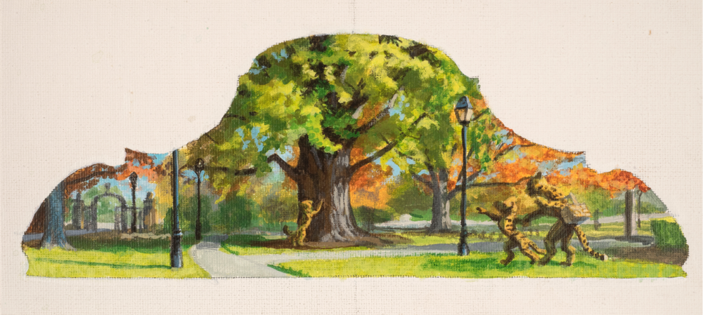 Jonathan Queen, Fleischman Gardens  Acrylic on Canvas, 19x13 in.