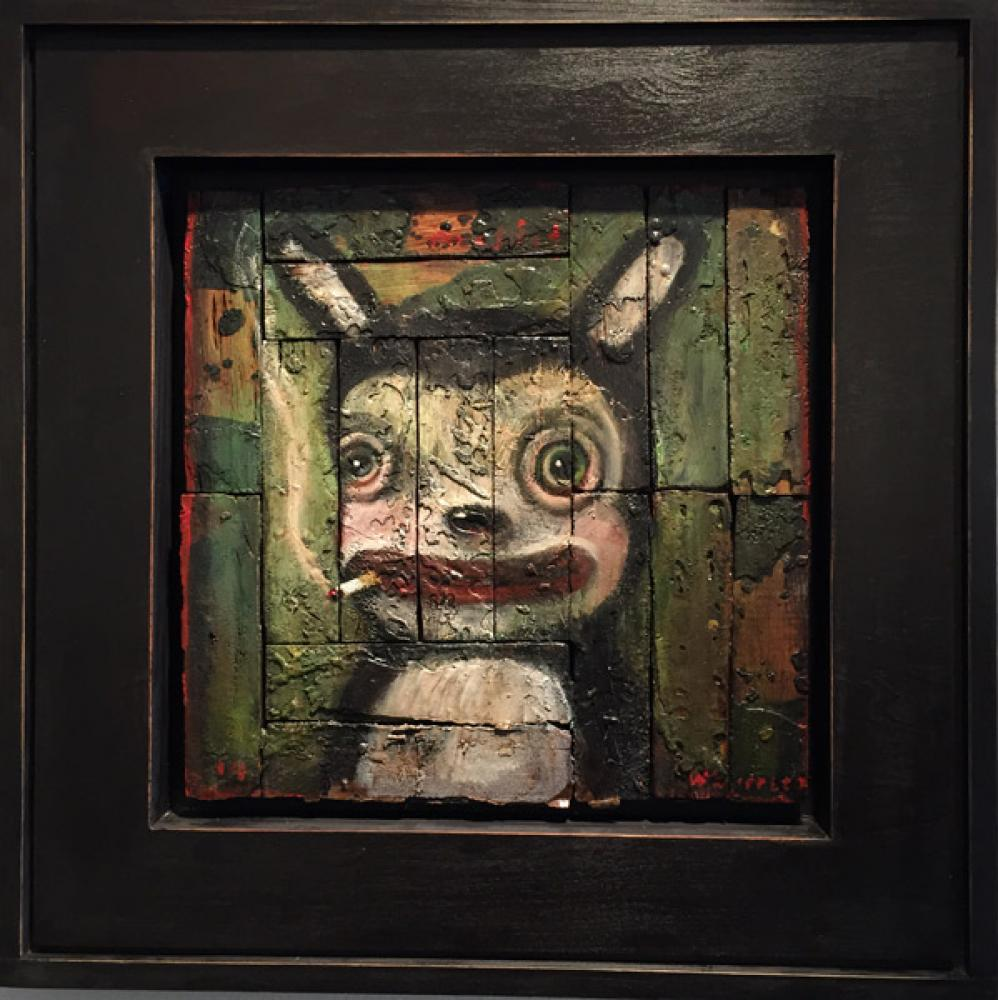 John Whipple, MISFITS- Chain Smoker  Oil on Parquet Salvage 16IN. X 16IN.