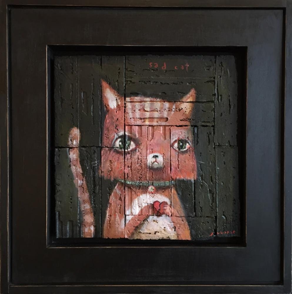 John Whipple, MISFITS- Sad Cat  Oil on Parquet Salvage, 16x16 in.