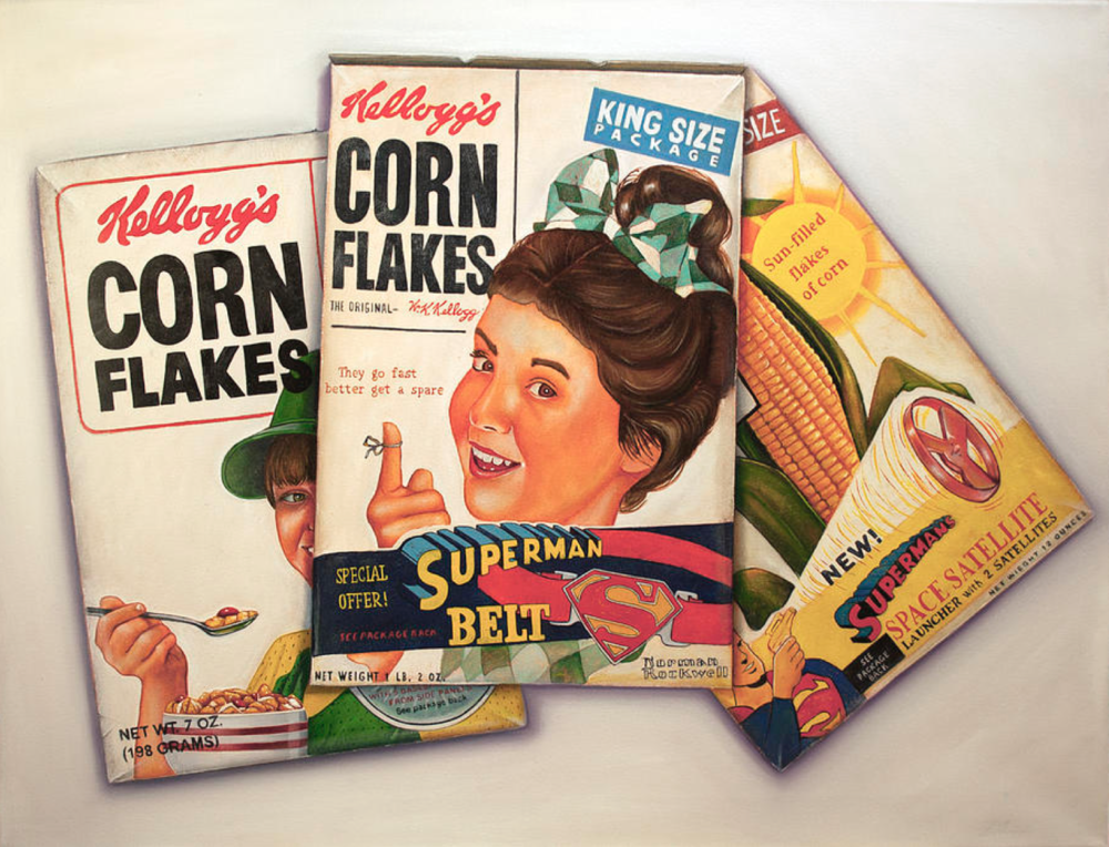 Vic Vicini, Corn Flakes  Oil on Linen, 20x20 in.