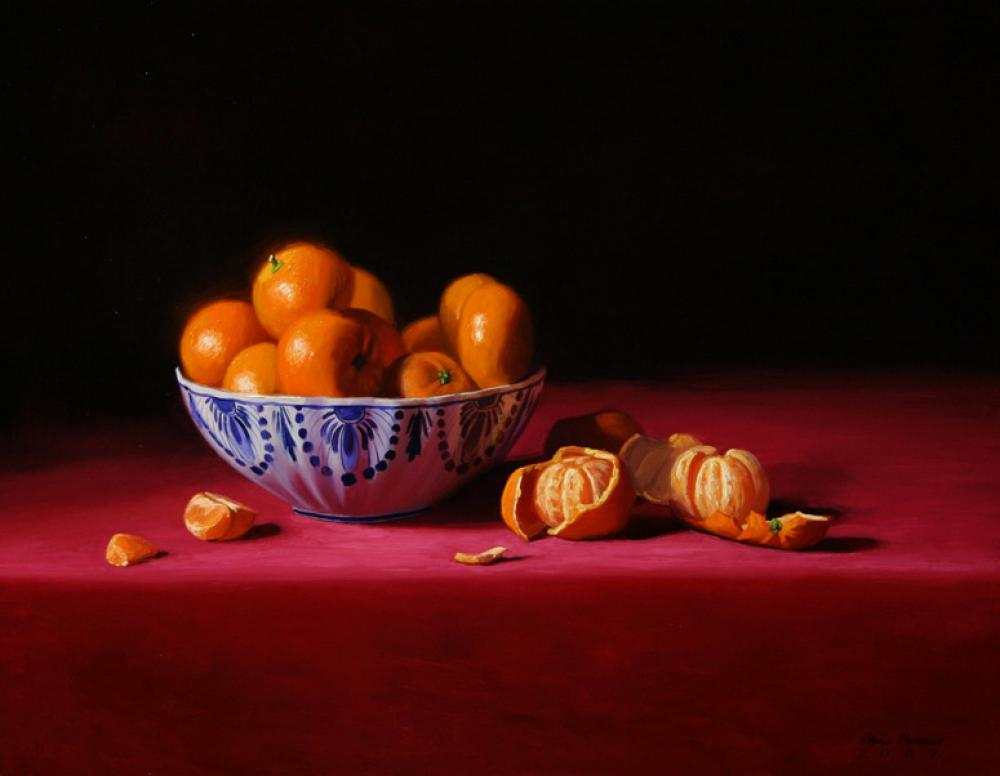 Chris Thomas, Delft & Tangerines  Oil on Canvas 14x18 in.