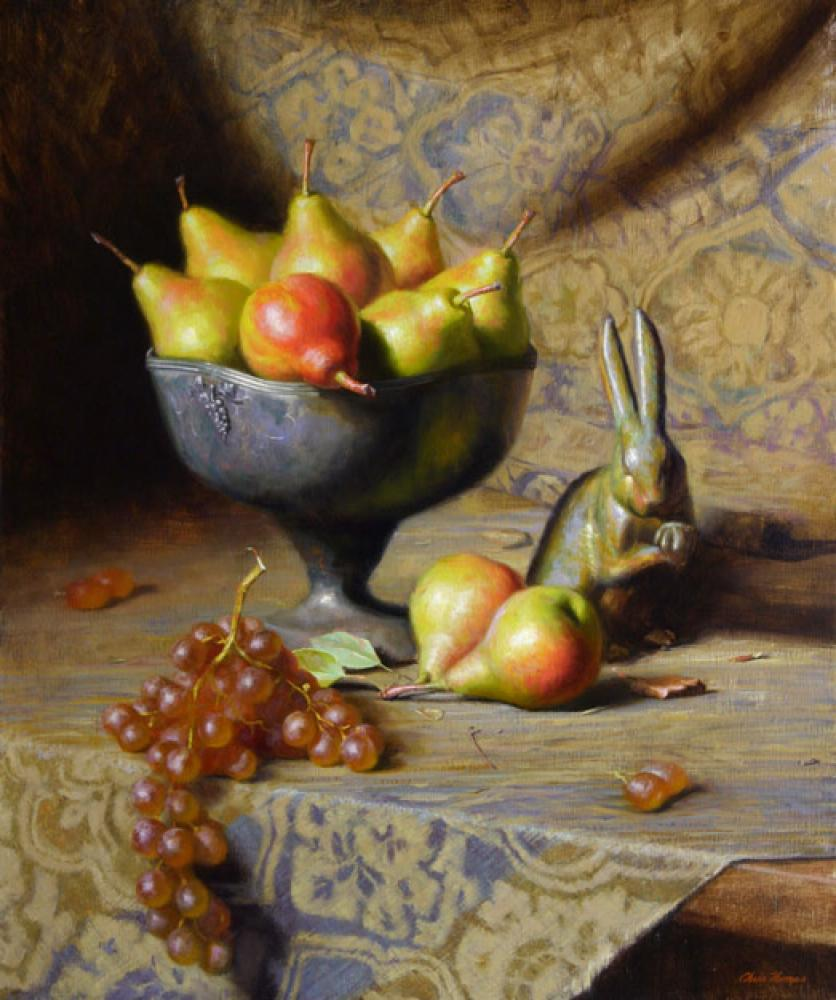 Chris Thomas, Rabbit & Pears  Oil on Canvas, 24x20 in.